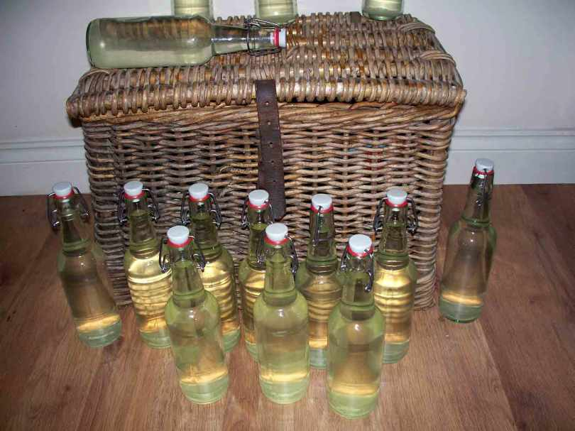 Picture of bottles of Elderflower champagne next to a wicker fishing creel