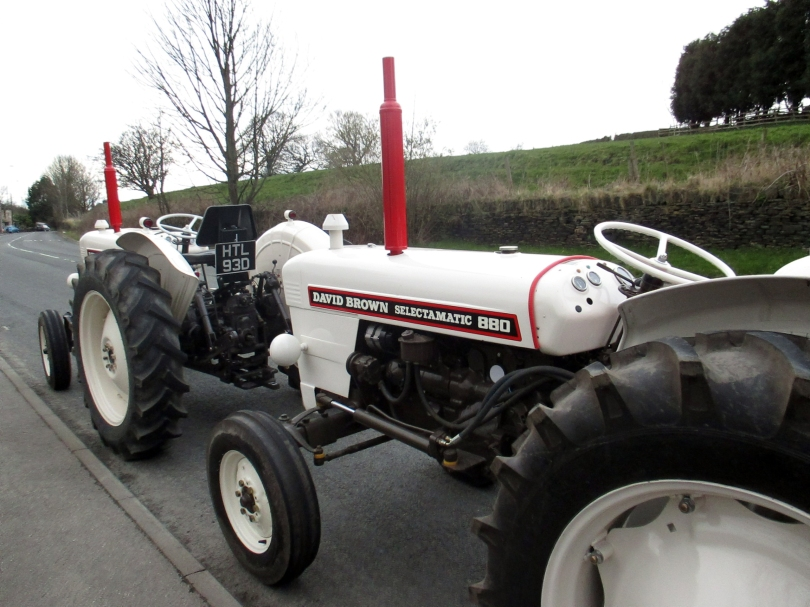Picture of two David Brown white tractors