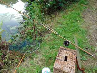 Picture of a vintage split cane rod in a rod rest along side a wicker creel and a vintage landing net