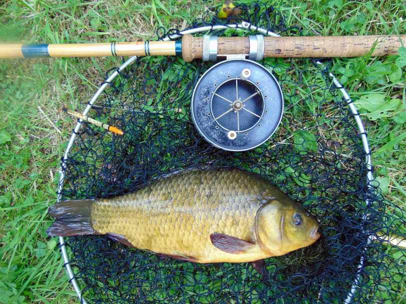 Picture of a 2lb 11oz Crucian Carp with an Edgar Sealey Floatcaster De-Luxe rod and vintage landing net