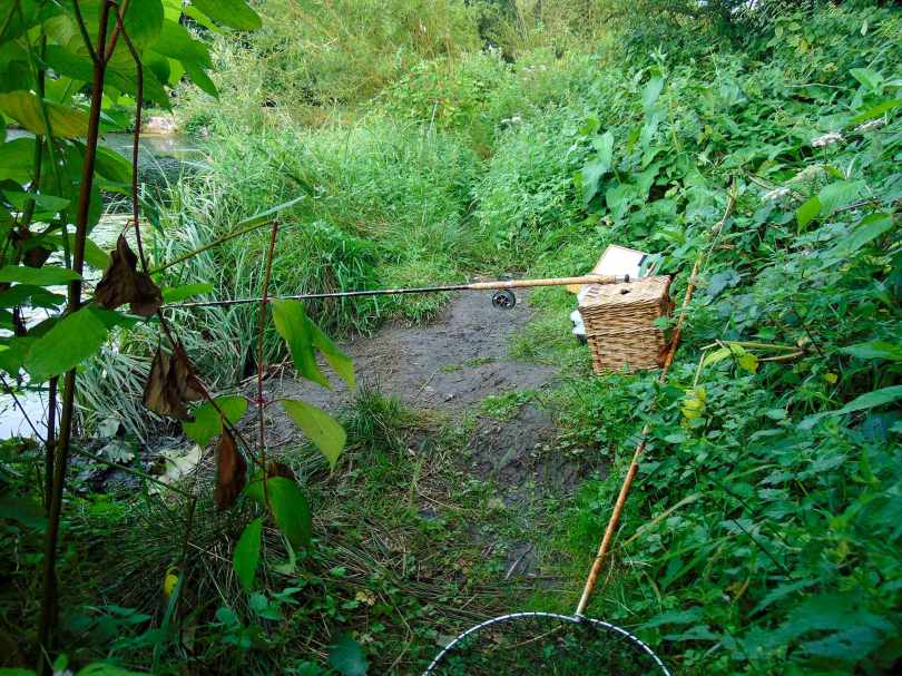 Picture of a vintage cane rod resting on a wicker creel with a vintage landing net on the ground